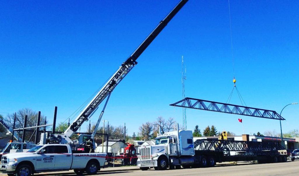 Gilmar Crane Service iron workers working on the Coaldale Fire Hall Expansion.