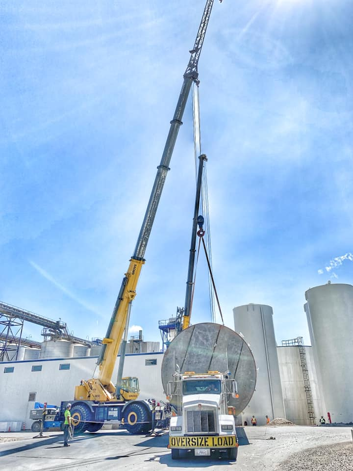 A multi crane lift for a tank replacement.