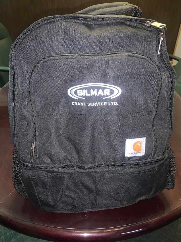 Gilmar Crane branded backpack for give-away.